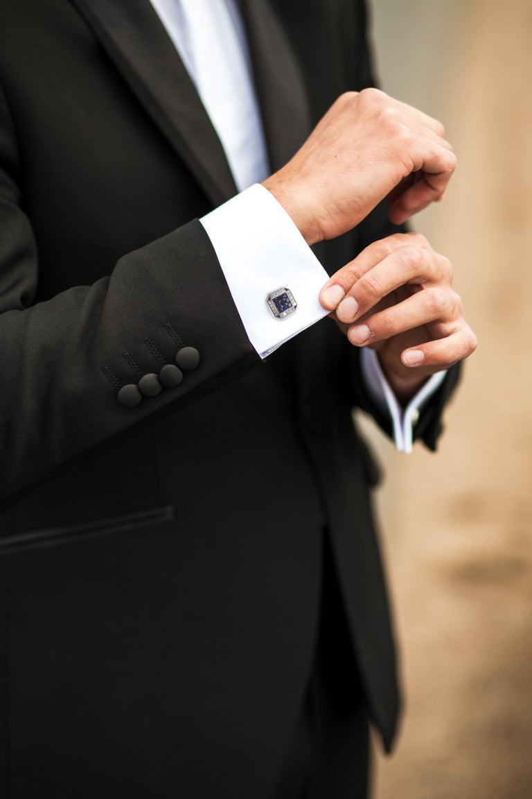DEAKIN & FRANCIS, Piccadilly Arcade, London  These are truly luxurious cufflinks that are heirlooms - made to have and to hold. For the gentleman with style, these square cufflinks have been made from the very finest 18ct White Gold. Stunning