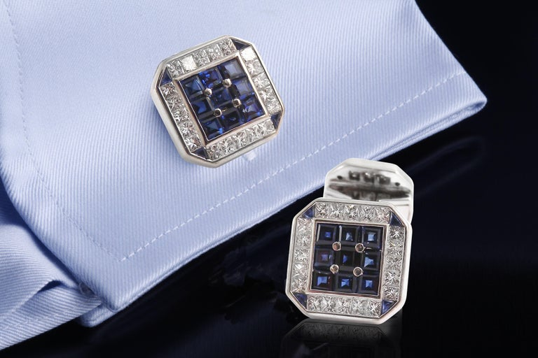 Contemporary 18 Karat White Gold Square Cufflinks with Diamonds and Sapphires For Sale