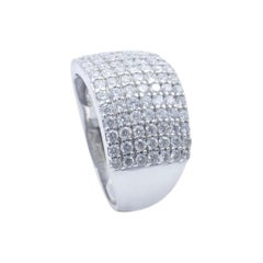 18ct White Gold Wide Band 2.2 Carat Diamond Ring
