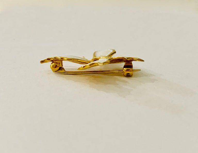 Modern 18 Carat Yellow Gold and White Enamel Butterfly Diamond Set Brooch For Sale