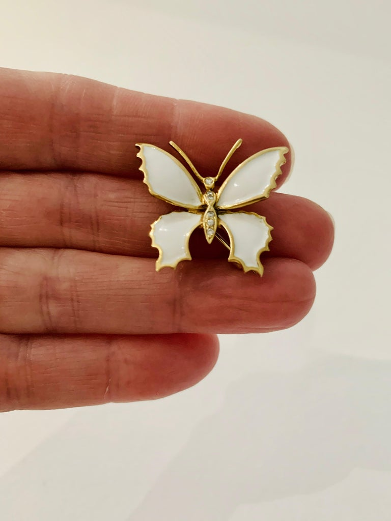 Women's or Men's 18 Carat Yellow Gold and White Enamel Butterfly Diamond Set Brooch For Sale
