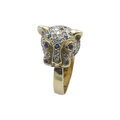 """18ct Yellow Gold Cartier Style Sapphire Ruby & Diamond """"Panther"""" Ring"""