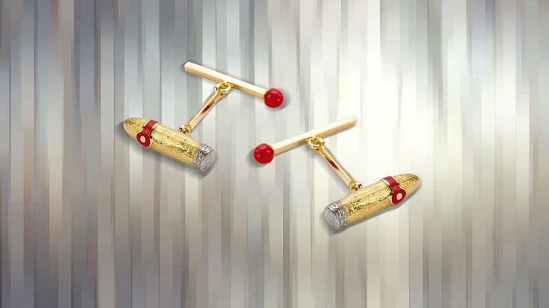 DEAKIN & FRANCIS, Piccadilly Arcade, London  For the connoisseurs who know the joy of a fine cigar chased with a tot of whisky, the 18ct yellow gold Cigar & Match Cufflinks from Deakin & Francis are the ideal accessory.  Handcrafted in the English