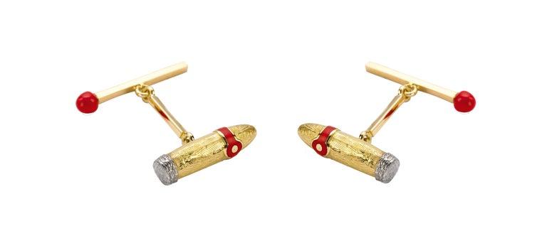 Contemporary Deakin & Francis 18 Karat Yellow Gold Cigar and Matchstick Cufflinks For Sale