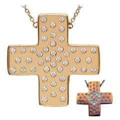 Diamond 18ct Yellow Gold Pendant Necklace Love Heart Cross DIAMONDS in the SKY