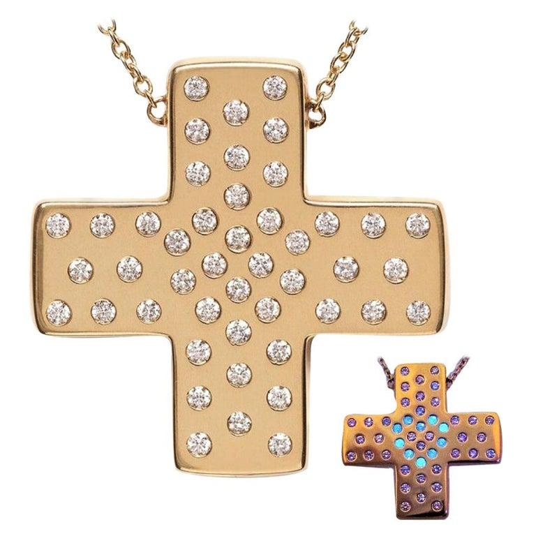 Diamond 18ct Yellow Gold Cross Pendant Love Heart Magic DIAMONDS in the SKY