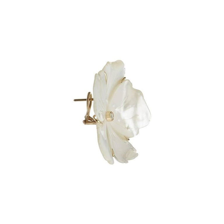 18ct yellow gold, diamond and hand-carved mother-of-pearl earrings Hallmarked Edition of 5  These show-stopping earrings take their name from the Gardenia plant, whose highly scented white flowers are here evoked in this unique mother-of-pearl