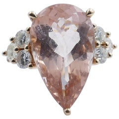 18 Carat Yellow Gold High Level Morganite and Diamond Ring