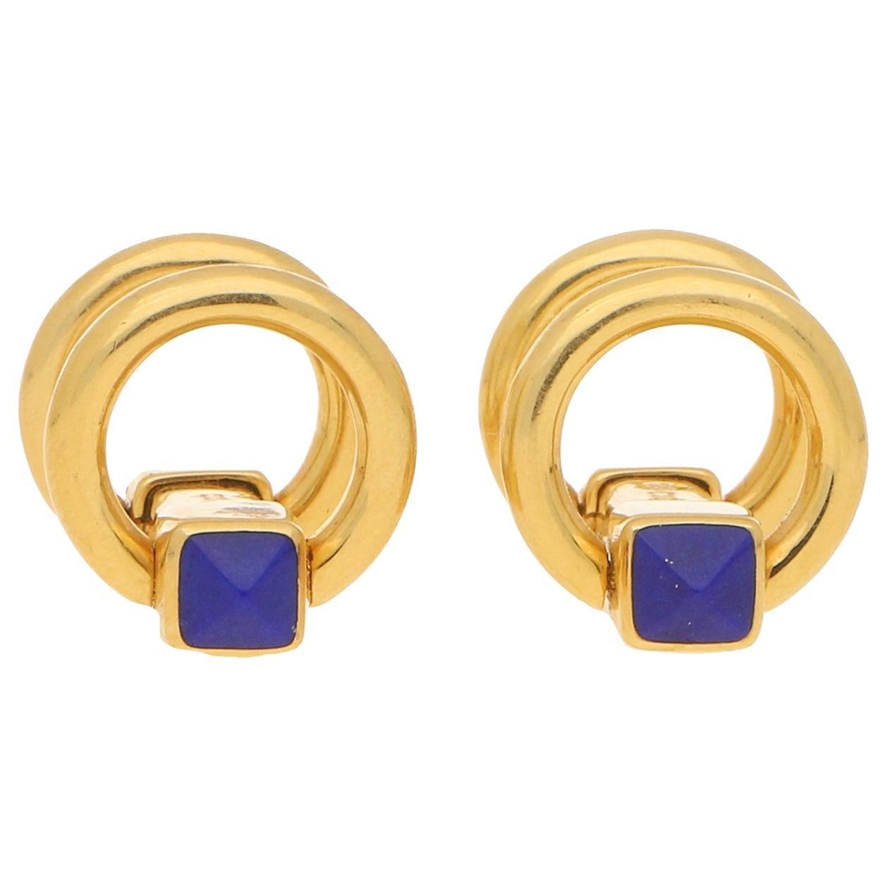 Lapis Lazuli Snaffle Cufflinks Set in 18k Yellow Gold