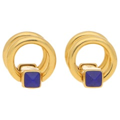Lapis Lazuli Snaffle Cufflinks Set in 18k Yellow Gold