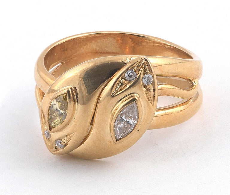 Victorian 18 Carat Yellow Gold Marquise Diamond Snake Ring For Sale