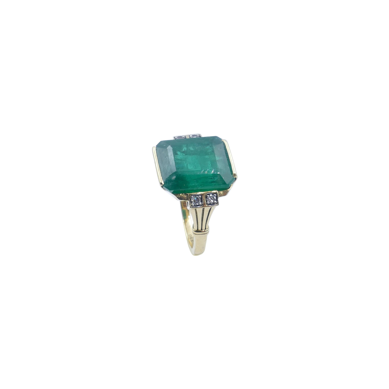 18ct Yellow Gold Natural Emerald & Diamond Ring