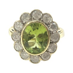 18 Carat Yellow Gold Peridot and Diamond Cluster Ring