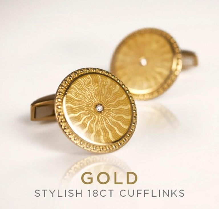 Contemporary 18 Carat Yellow Gold Round Cufflinks with Clear Enamel and Diamond Centre For Sale