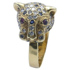 """18ct Yellow Gold Sapphire Ruby & Diamond """"Panther"""" Ring"""