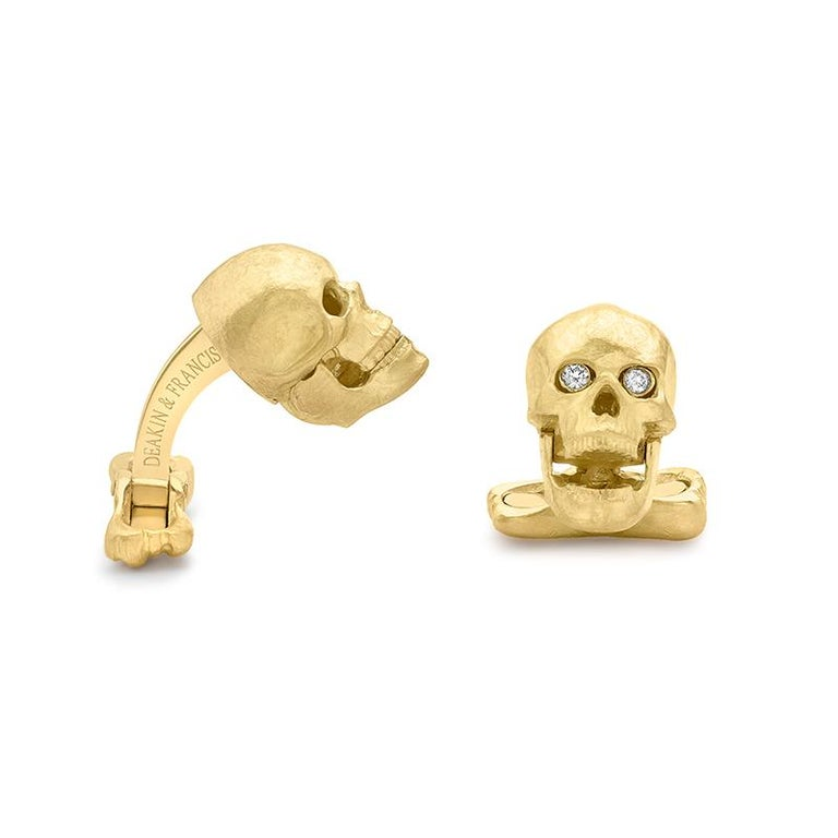 Contemporary 18 Carat Yellow Gold Skull Cufflinks with Popping Diamond Eyes For Sale
