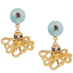 18ct Yellow Gold Vermeil, Aquamarine and Iolite Octopus 'Positano' Earrings