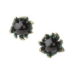 18 Carat Yellow Gold Vermeil, Verdigris Brass and Onyx Stud Earrings