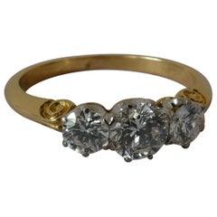18ct Yellow Gold & White Gold Round Brilliant Cut 3 Diamond Vintage Trinity Ring