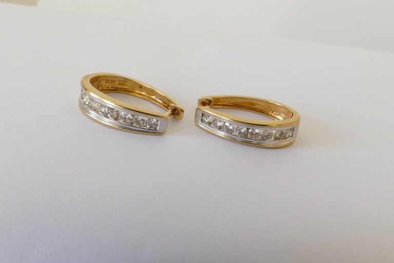 18 Carat Yellow and White Gold Oval Huggie Style Diamond Earrings In Excellent Condition For Sale In Splitter's Creek, NSW