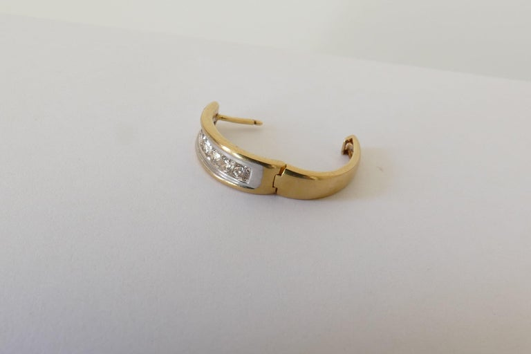 Women's 18 Carat Yellow and White Gold Oval Huggie Style Diamond Earrings For Sale