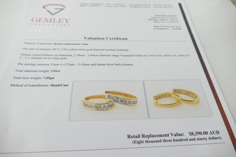 18 Carat Yellow and White Gold Oval Huggie Style Diamond Earrings For Sale 1