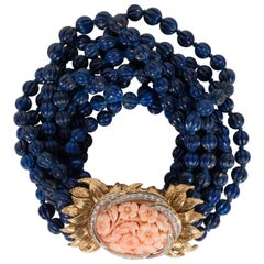 18k & Platinum Torsade Bracelet w/ Carved Lapis, Coral & Diamonds by David Webb