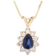 18 Karat and 14 Karat Yellow Gold, Sapphire, Diamond Teardrop Pendant Necklace