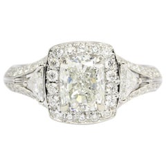 18K 1.5CT Cushion Cut Diamond Set wWith Two Trillion and Round Cut Diamonds