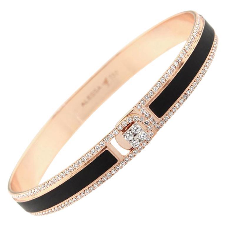 18k & 1.65 Carat Black Border Spectrum Rose Gold and Diamonds Bracelet by Alessa For Sale