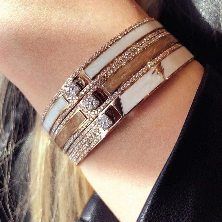 Contemporary 18k & 1.65 Carat Black Border Spectrum Rose Gold and Diamonds Bracelet by Alessa For Sale