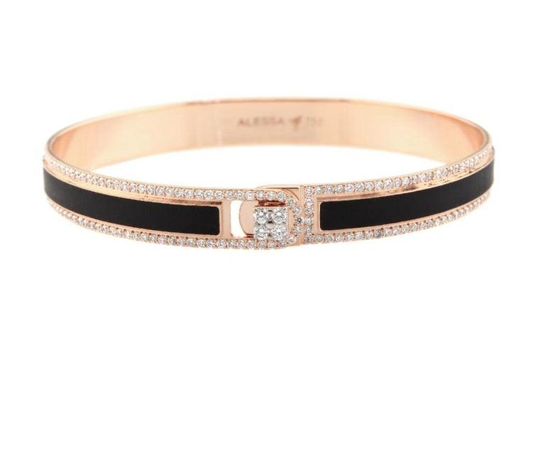 Round Cut 18K & 1.65 cts Black Border Spectrum Rose Gold & Diamonds Bracelet by Alessa For Sale