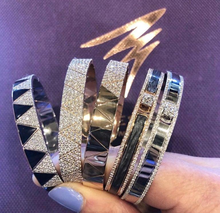 Women's or Men's 18K & 1.65 cts White Border Spectrum White Gold & Diamonds Bracelet by Alessa For Sale