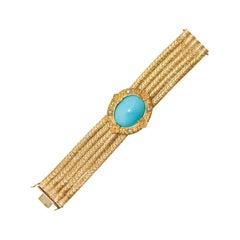 18K 1970s 5-Strand Florentine Bracelet with Removable Diamond Turquoise Enhancer