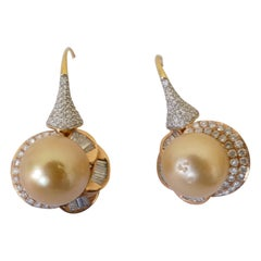 18K 2 Tone Yellow & White Gold Golden South Sea Pearl and Diamond Drop Earrings