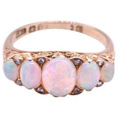 18 Karat 5-Stone Australian Opal Ring HM Sheffield, 1870