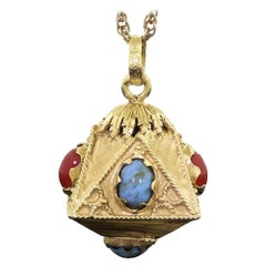 18 Karat 750 Gold Etruscan Style Italy Art Glass Fob Large Accent Charm Pendant
