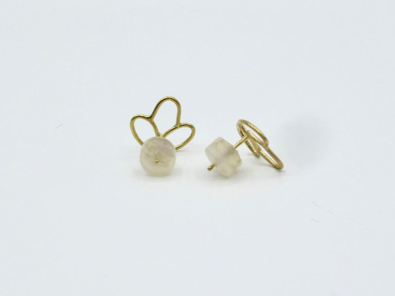 Women's or Men's 18k Alchemical Stud Earring Crystal For Sale