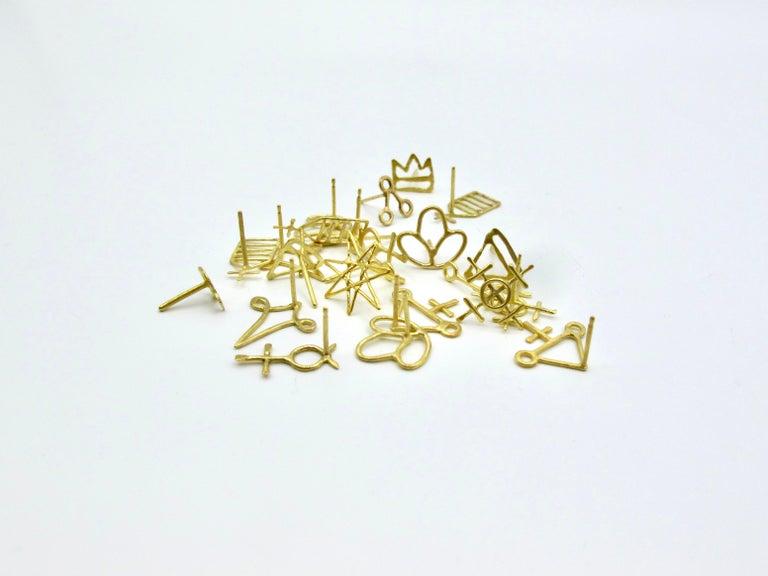 18k Alchemical Stud Earring Crystal For Sale 1