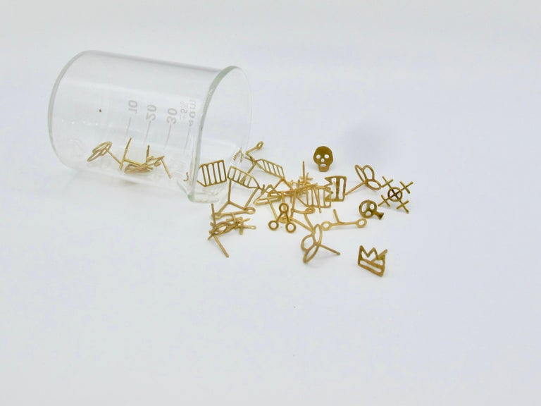 18k Alchemical Stud Earring Crystal For Sale 2