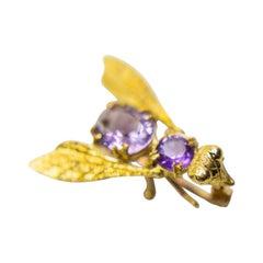 18 Karat Amethyst Insect Brooch