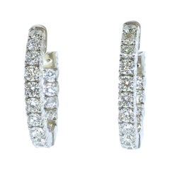 18K and Diamond Hoop Style White Gold Earrings