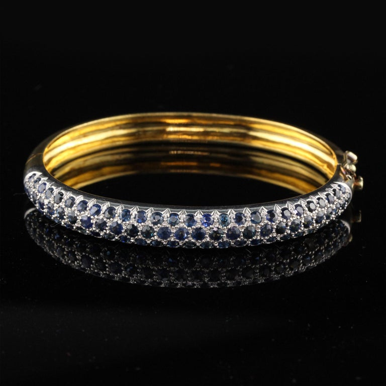 Modern Vintage 18K Yellow Gold Sapphire Bangle For Sale