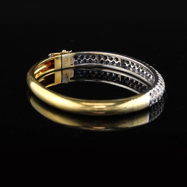 Round Cut Vintage 18K Yellow Gold Sapphire Bangle For Sale