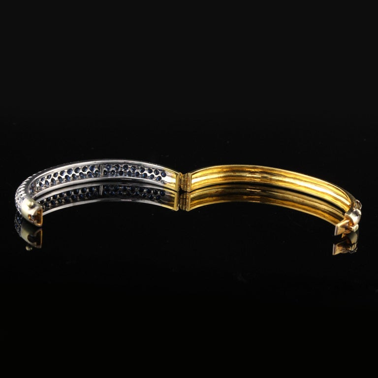 Women's Vintage 18K Yellow Gold Sapphire Bangle For Sale