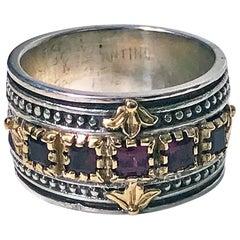 18 Karat and Sterling Rhodolite Ring