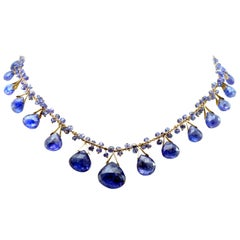 18k and Tanzanite Briolette Necklace with Faceting Grade Tanzanite Beads in 18k