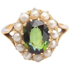 18 Karat Antique Green Tourmaline Seed Pearl Yellow Gold Ring