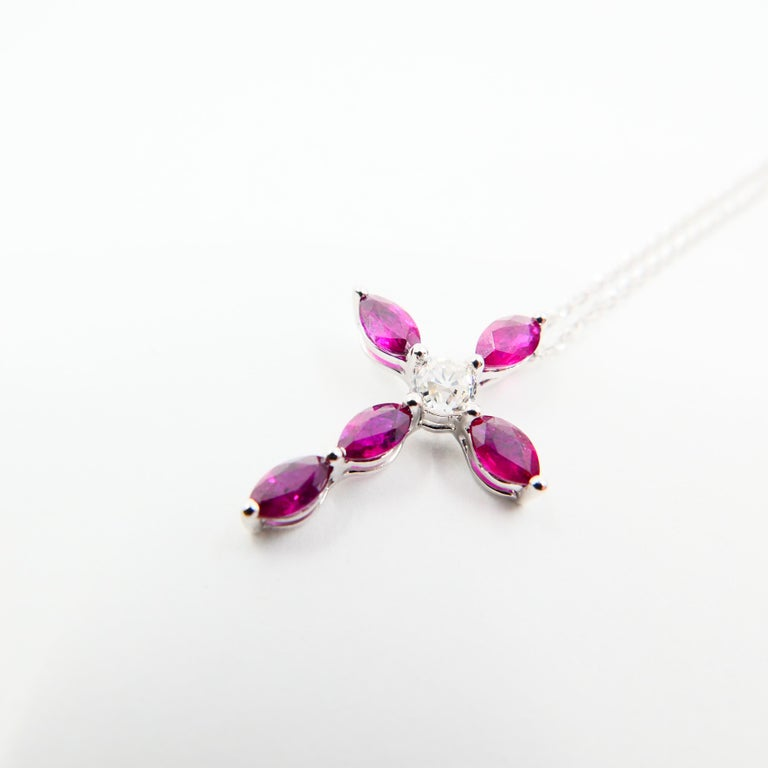 18 Karat Old Mine Cut Diamond and Burma Rubies Cross Pendant Drop Necklace For Sale 2