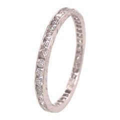 18K Art Deco Style Diamond Eternity Band White Gold